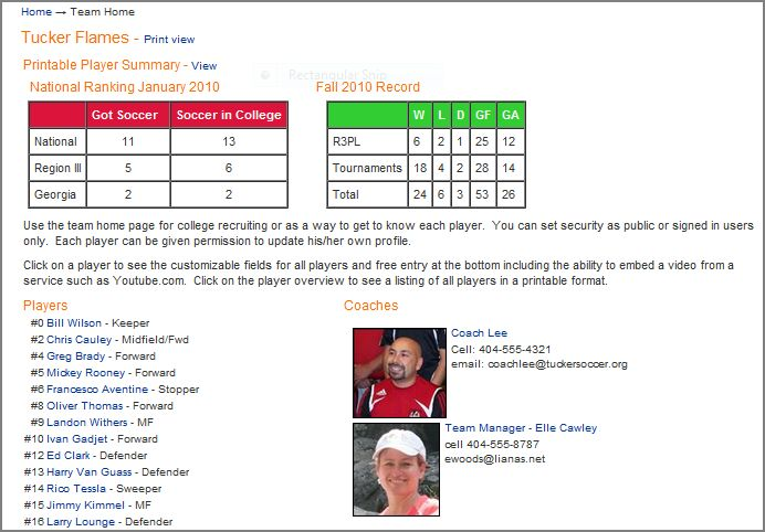Image of sample soccer Team Profile page